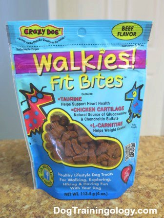 A bag of beef-flavored Walkies Fit Bites